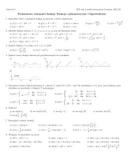 Podstawowe własności funkcji. Funkcje cyklometryczne i