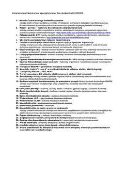 Lista tematów/ Seminarium specjalistyczne/ Rok akademicki 2015