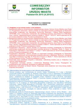 Informator miesięczny Urzędu Miasta i Jednostek Organizacyjnych
