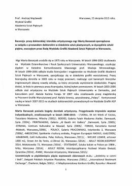 Recenzja_II - Wydział Grafiki - Akademia Sztuk Pięknych w Warszawie