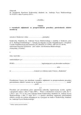 Załącznik do zarządzenia Kanclerza Krakowskiej akademii im