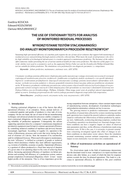 the use of stationary tests for analysis of monitored residual