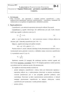 ĆWICZENIE NR 7. Sygnały Elektryczne – parametry