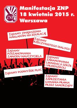 Manifestacja ZNP 18 kwietnia 2015 r. Warszawa