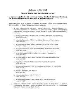 Uchwała nr 58/2015 Senatu AGH z dnia 29 kwietnia 2015 r.