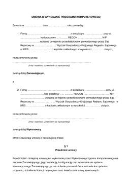 Page 1 UMOWA O WYKONANIE PROGRAMU KOMPUTEROWEGO