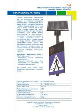 A-ster D-6 aktywne oznakowanie przejścia dla pieszych z zestawem