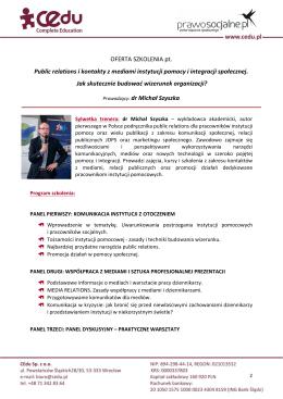 OFERTA SZKOLENIA pt. Public relations i kontakty z
