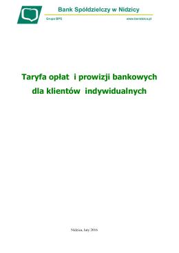 Taryfa opłat i prowizji bankowych dla klientów