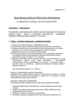 SIWZ - telemetria - Spółdzielnia Mieszkaniowa Dębina