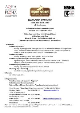 REGULAMIN ZAWODÓW Spin And Win 2015