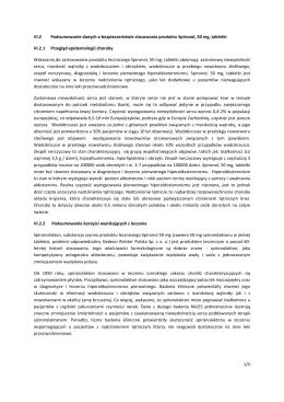 1/5 VI.2 Podsumowanie danych o bezpieczeństwie stosowania