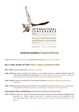 Conference Schedule / Program konferencji