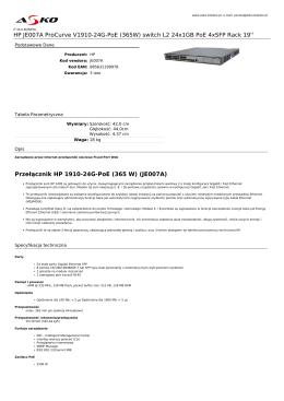 HP JE007A ProCurve V1910-24G-PoE (365W)