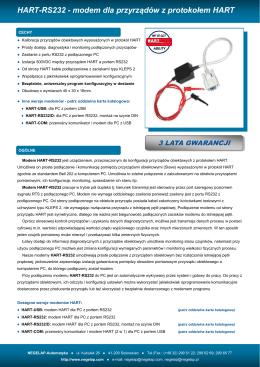 HART-RS232 - modem dla przyrządów z protokołem HART