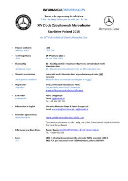 Informacje StarDrive 2015 - Klub Zabytkowych Mercedesów Polska