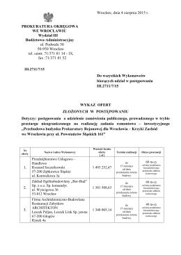 Wykaz złożonych ofert - Prokuratura Okręgowa