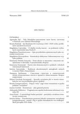 Prace FILOLOGICZNE Tom LIV, 2008 Seria językoznawcza Spis