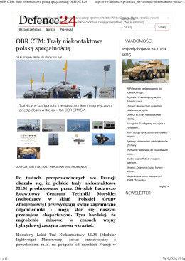 OBR CTM: Trały niekontaktowe polską specjalnością   DEFENCE24