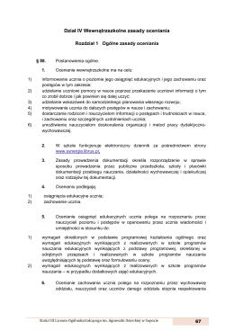 Dział IV Wewnątrzszkolne zasady oceniania