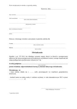 Wzór oświadczenia do wniosku o wyprawkę szkolną