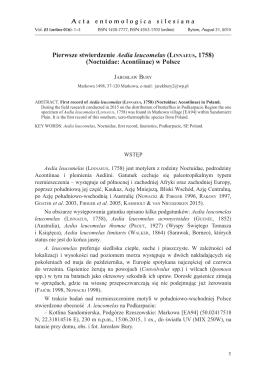 Pierwsze stwierdzenie Aedia leucomelas (LINNAEUS, 1758