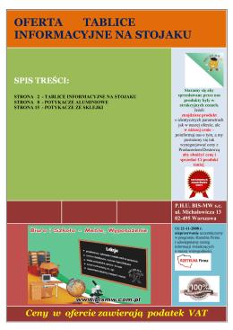 OFERTA TABLICE INFORMACYJNE NA STOJAKU - BIS-MW