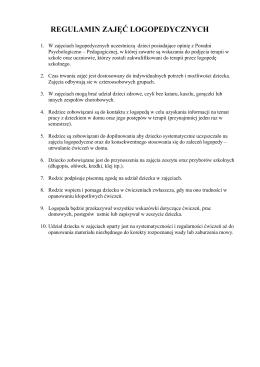Regulamin i Zasady kwalifikowania na zajęcia logopedyczne