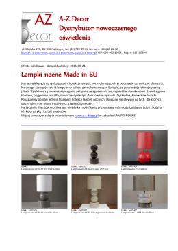 Lampki nocne Made in EU A-Z Decor Dystrybutor nowoczesnego