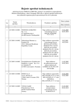 Rejestr udzielonych aprobat zgodnie z rozporządzeniem MI
