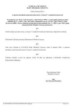Uchwala Nr VIII/52/15 z dnia 26 marca 2015 r.