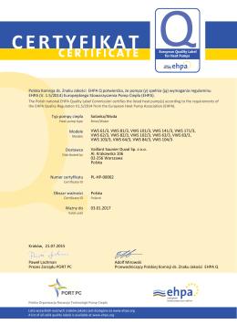 Uzupełnienie Certyfikat EHPA-Q - geoTHERM Typ
