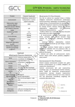 Karta Techniczna City Soil Hydrożel