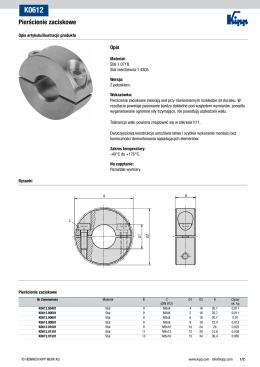 Arkusz danych K0612 Pierścienie zaciskowe