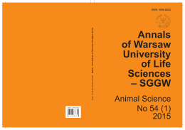 Annals of Warsaw University of Life Sciences – SGGW. Animal