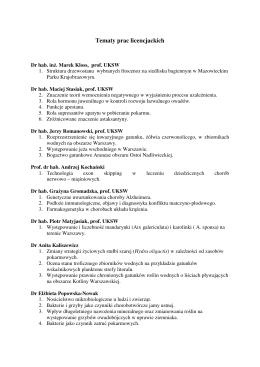 Tematy prac licencjackich