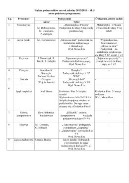 Wykaz podręczników na rok szkolny 2015/2016 – kl. 5 nowa