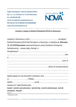 Umowa o naukę w Szkole Policealnej NOVA w Sosnowcu zawarta