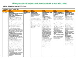 program, piątek, 29 maj 2015 - Międzynarodowa konferencja