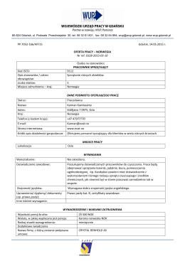 ofeta pracy 166/2015 Pracownik sprzątający