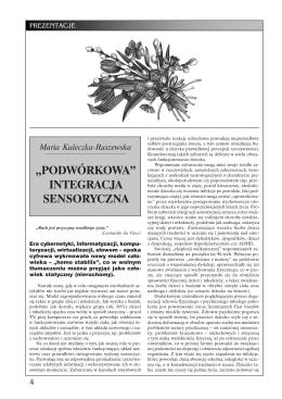 """Maria Kuleczka-Raszewska """"Podwórkowa"""" integracja sensoryczna"""