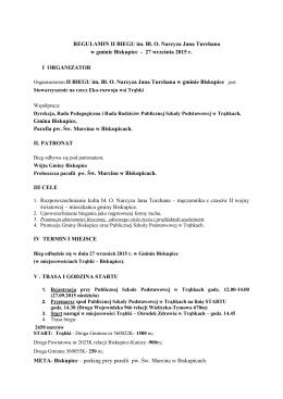 REGULAMIN II BIEGU im. Bł. O. Narcyza Jana Turchana w gminie