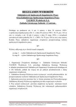 regulamin wyborów w - ZZG W POLSCE TAURON Wydobycie SA