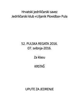 52. Pulska regata - Upute za jedrenje