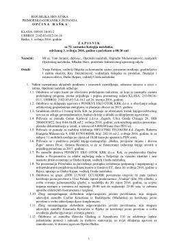 Zapisnik – 72. sastanka Kolegija načelnika