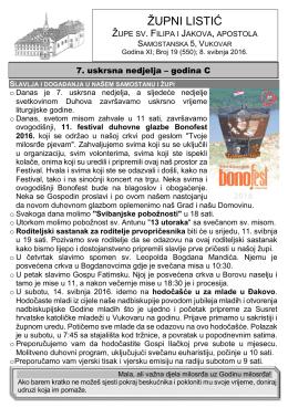 župni listić - Župa sv. Filipa i Jakova   Vukovar