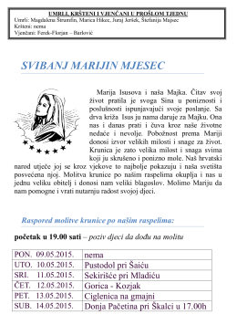 Župni listić 08.05.2016 - Župa Sveti Križ Začretje