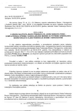 Odluka o izboru - Vlada Federacije Bosne i Hercegovine