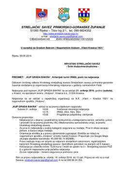 Kriterijski turnir, samostrel - Bakar, poziv