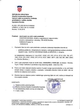 Javni poziv za uvid u spis predmeta u postupku izdavanja lokacijske